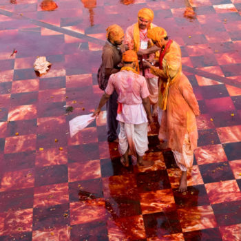 no, it's not a butcher shop, it's holi festival