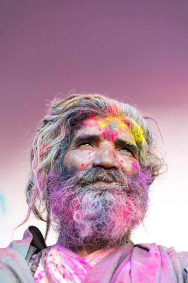 holi festival: coloured faces everywhere