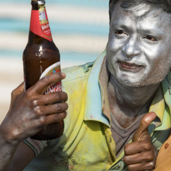 seing indian people drinking beer in varanasi is rare !