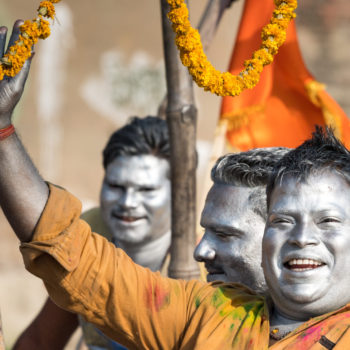 holi festival: coloured faces everywhere